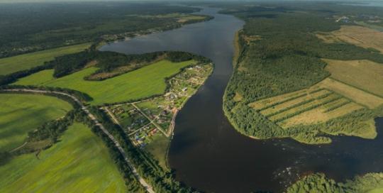 Аэрофотосъемка Луговое, река Бурная, панорама, аэрофото