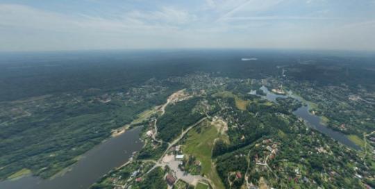 Аэрофотосъемка Токсово, панорама, вид сверху на поселок, аэрофото