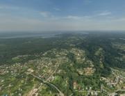 Вид сверху на коттеджный поселок «Зеленые холмы» (Сярьги), аэрофото, аэрофотосъемка