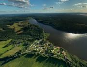 Вид сверху на коттеджный поселок «Западное Солнце», аэрофото, аэрофотосъемка