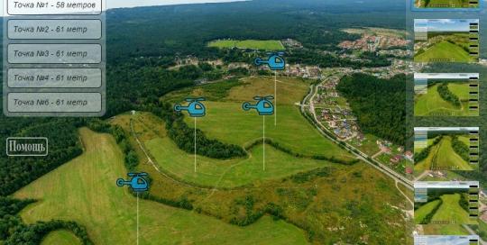 3D панорама коттеджного поселка с воздуха, аэросъемка